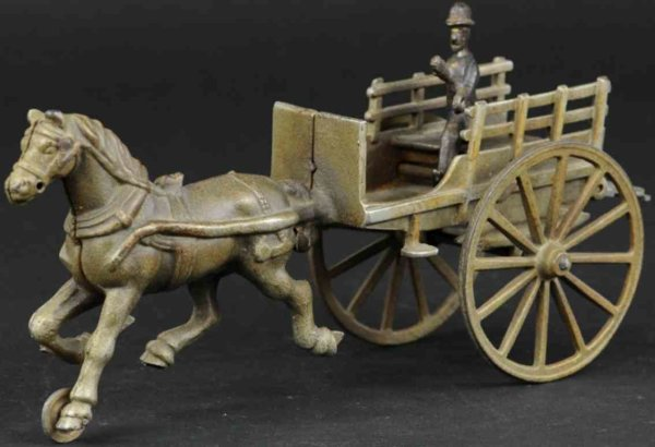 Ives Cast-Iron-Carriages Cart made of cast iron, nickel slat side cart has opening re
