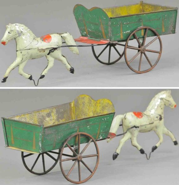Brown George Tin-Carriages Horse drawn dump cart, hand painted tin open wagon, done in