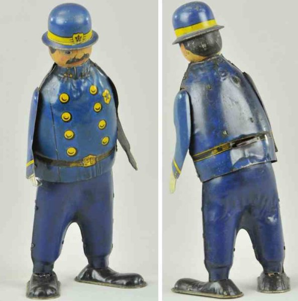 Unique Art Manufacturing Company Tin-Figures Casey the cop, lithographed tin, wind-up toy, badge #23