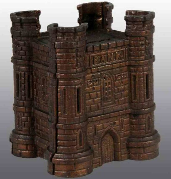 Harper Co John Cast-Iron-Mechanical Banks Castle still bank of cast iron