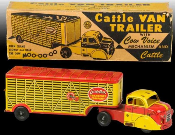 Marx Tin-Trucks Cattle van trailer of pressed steel with cow voice mechanism