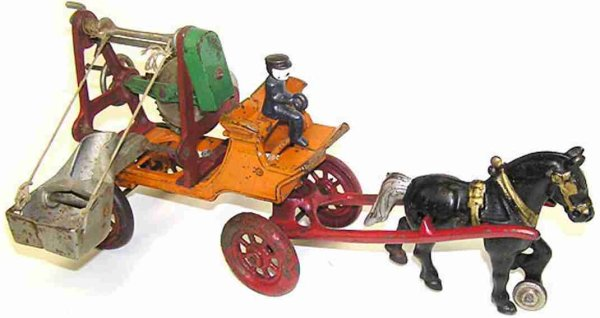 Kenton Hardware Co Cast-Iron-Carriages Cement mixer horse drawn with driver. Black horse pulling a