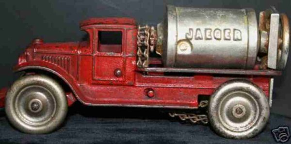 Kenton Hardware Co Cast-Iron trucks Jaeger Cemt Mixer Truck, marked KENTON and JAEGER
