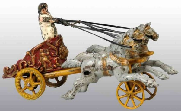 Hubley Cast-Iron-Carriages Chariot toy with figure pulled by three gray horses
