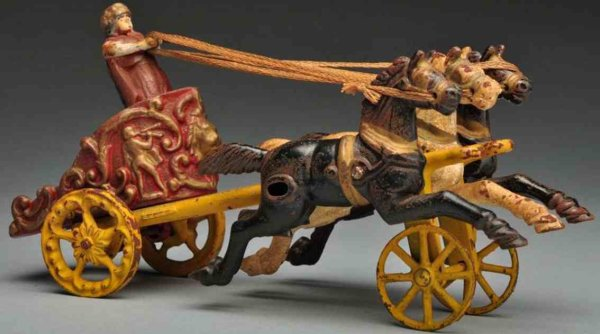 Hubley Cast-Iron-Carriages Cast iron chariot horse-drawn toy, comes with gladiator figu
