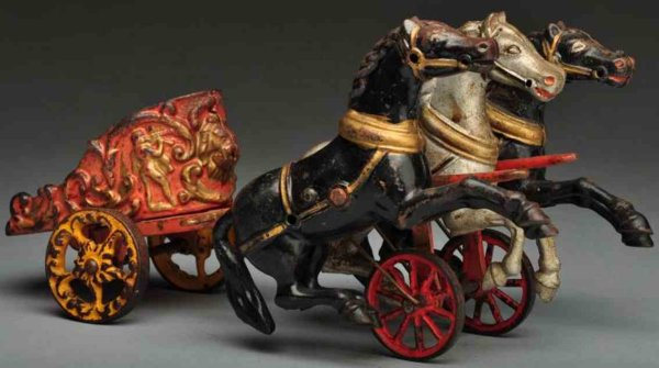 Hubley Cast-Iron-Carriages Cast iron royal circus 3-horse chariot toy, missing gladiato