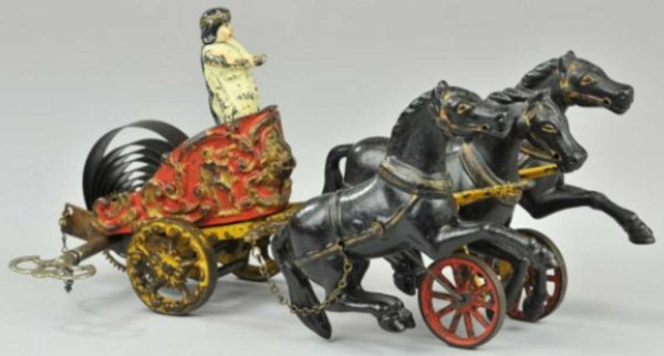 Hubley Cast-Iron-Carriages Roman chariot clockwork toy of  cast iron, heavily embossed