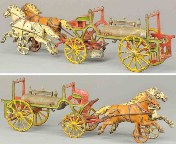 Wilkens Cast-Iron-Carriages Horse drawn chemical wagon, very desirable cast iron toy wag