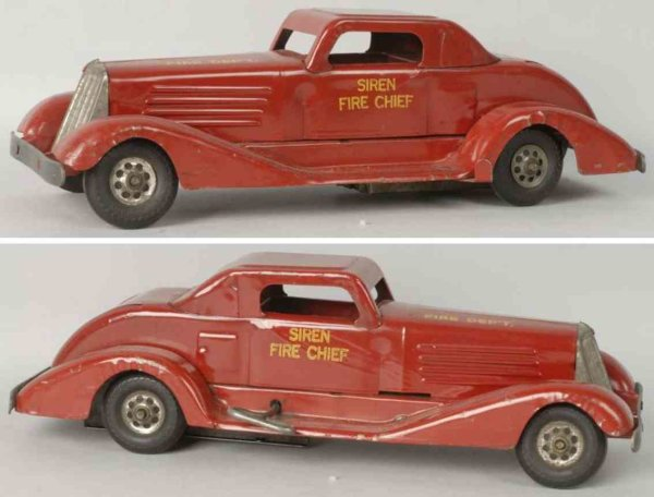 Keystone Tin-Fire-Truck Pressed steel siren fire chief car in red, when wound mechan