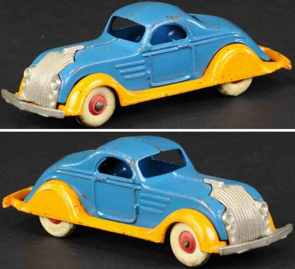 Dent Hardware Co Cast-Iron Oldtimer Chrysler airflow coupe, cast iron, painted blue with orange