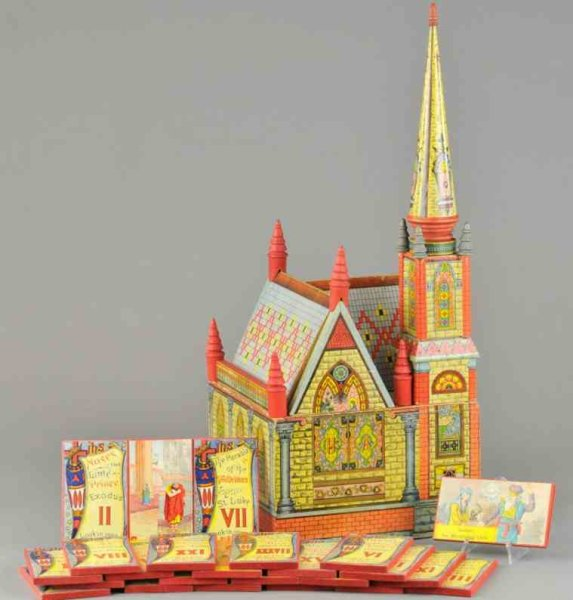 Bliss Rufus Wood-Buildings Church made of lithographed paper on wood building set compl