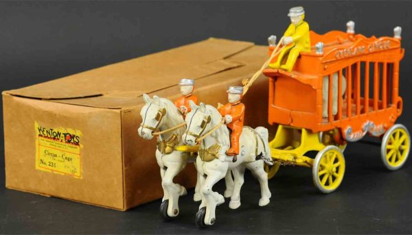 Kenton Hardware Co Cast-Iron-Carriages Overland circus wagon in orange version, made as special ord
