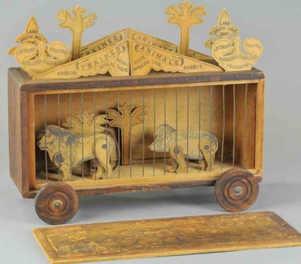 Crandall Covington Wood-Toys Happy circus cage wagon with lithographed paper covering sli