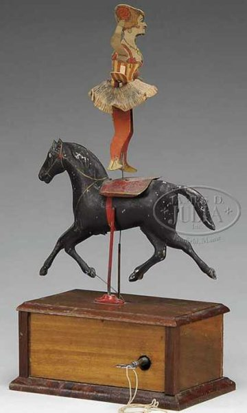 Ives Wood-Figures Clockwork circus rider toy, a unique form, mounted upon a pa