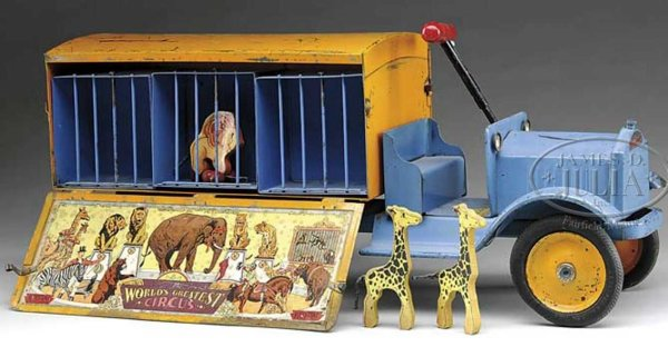 Keystone Tin-pedal cars THE WORLDS LARGEST CIRCUS Ride-em truck, pressed steel, th