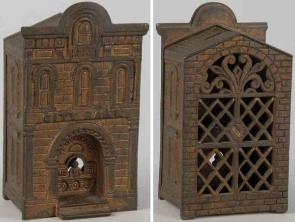 Judd H.L. Cast-Iron-Mechanical Banks Cast iron city bank with teller still bank, bronze finish ov