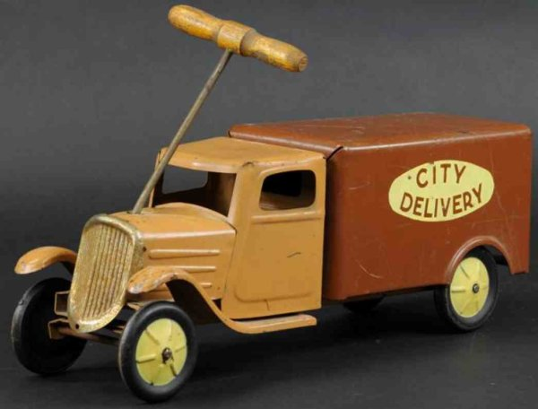 Steelcraft Tin-Trucks Delivery truck made of pressed steel, enclosed cab painted i