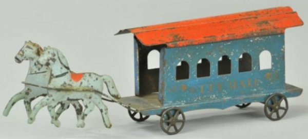 Fallows Tin-Carriages Amercian city hall trolley, early American tin horse drawn t