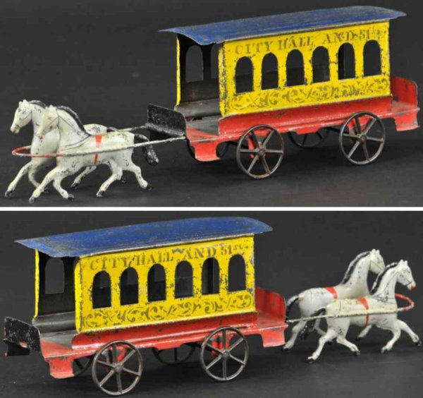 Fallows Tin-Carriages City hall trolley, early American tin horse drawn trolley, b