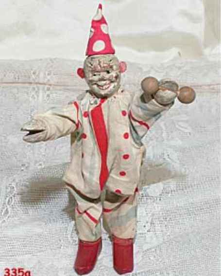 Schoenhut Wood-Figures Jointed clown has barbell