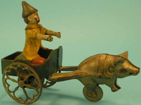 Gong Bell Cast-Iron Figures Clown in a pig cart