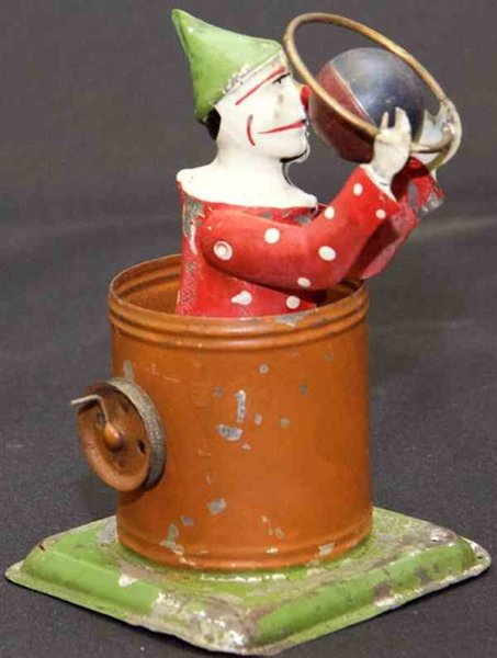 Unknown Steam Toys-Drive Models Rotating tin clown with hoop and ball sitting in a bucket on