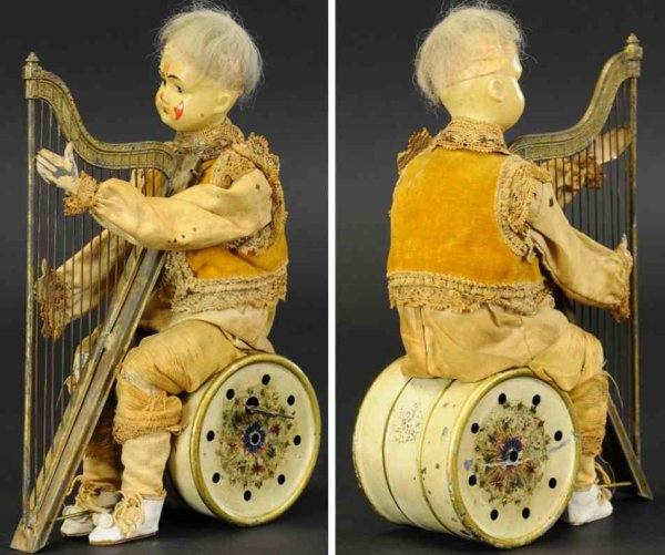 Guenthermann Tin-Clowns Clown playing harp, attributed to Gunthermann, clown seated