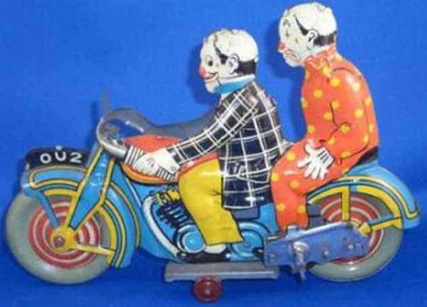 Mettoy Tin-Motorcycles circus clown rider and clown passenger made of  lithographed
