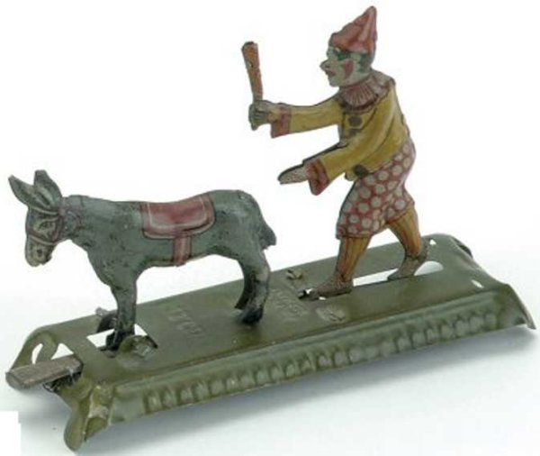 Meier Tin-Penny Toy Clown and mule, embossed lithographed tin, lever operated, m