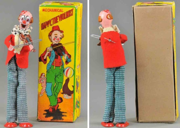 TPS Tin-Clowns Happy clown the violinist with box, lithographed tin, boxed