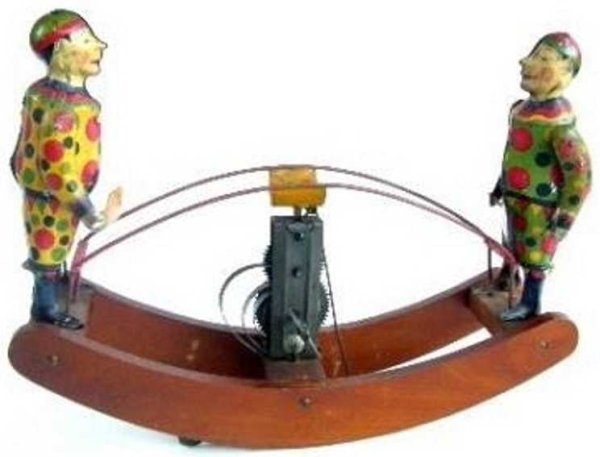 Unknown Tin-Figures See-Saw friction tin toy with 2 clowns, Made in Japan