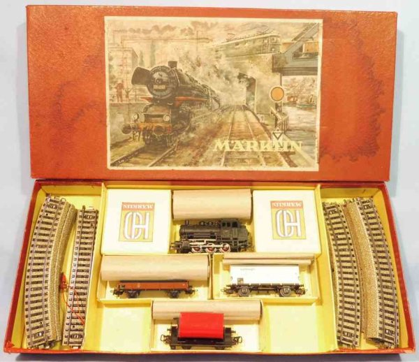 Maerklin Railway-Trains Train set in original box made of tin and plastic in white,