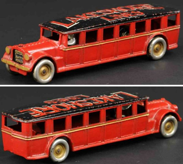 Arcade Cast-Iron buses Coach made of cast iron, painted in red, dramatic LAKESHORE