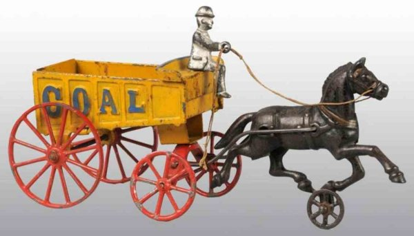 Hubley Cast-Iron-Carriages Coal wagon in yellow with red spoked wheels, one removable f