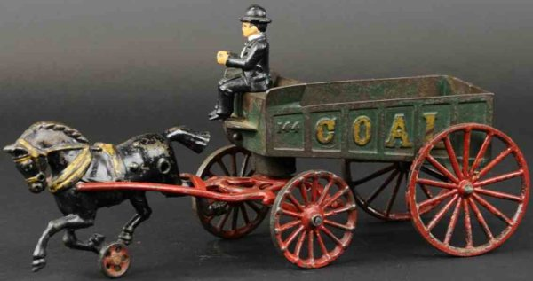 Hubley Cast-Iron-Carriages Coal wagon made of cast iron, green open bed wagon tilts for