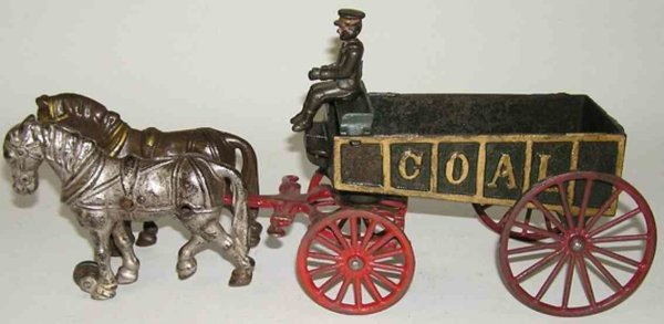 Hubley Cast-Iron-Carriages Coal wagon with driver drawn by 2 horses of cast iron. Drive