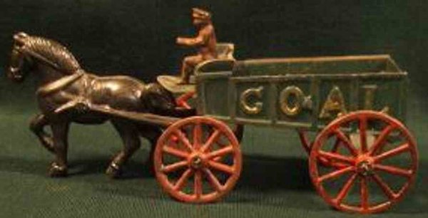 Hubley Cast-Iron-Carriages Coal wagon with driver and one horse