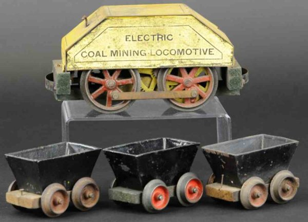 Carlisle & Finch Railway-Trains Electric coal mining lcomotive and three cars, includes tin