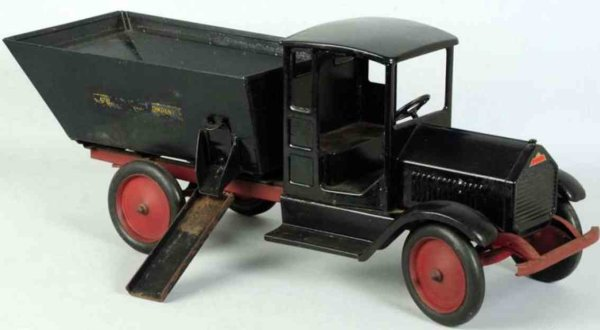 Sturditoy Tin-Trucks Pressed steel coal truck in black, enclosed front cab with p