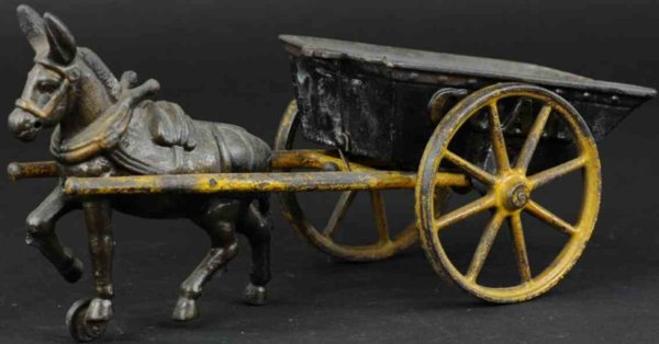 Ives Cast-Iron-Carriages Coal wagon drawn by one donkey, made of cast iron, embossed