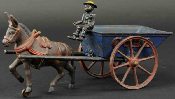 Ives Cast-Iron-Carriages Tipping coal wagon made of cast iron, painted in blue open w