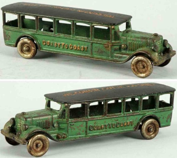 Williams AC Cast-Iron buses Cast iron Coast to Coast bus toy, probably made by A.C. Will