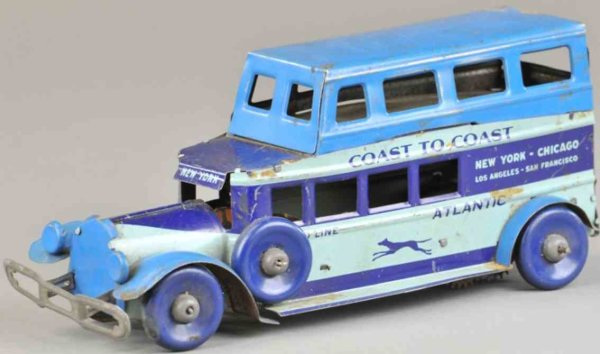 Marx Tin-Buses Bus made of lithographed tin, done in blue color scheme, fea