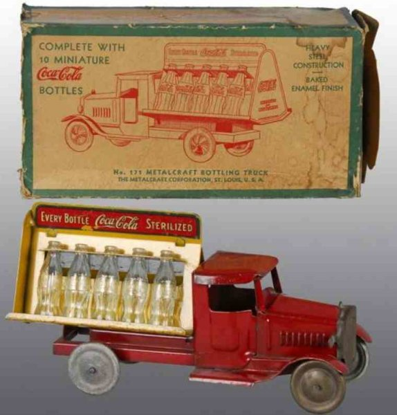 Metalcraft Corp. St Louis Tin-Trucks Coca Cola Truck in red, pressed steel, with 10 original tint