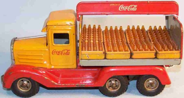 Goeso Tin-Trucks Coca Cola Truck Hanomag 3 Axis with clockwork and 8 drink bo