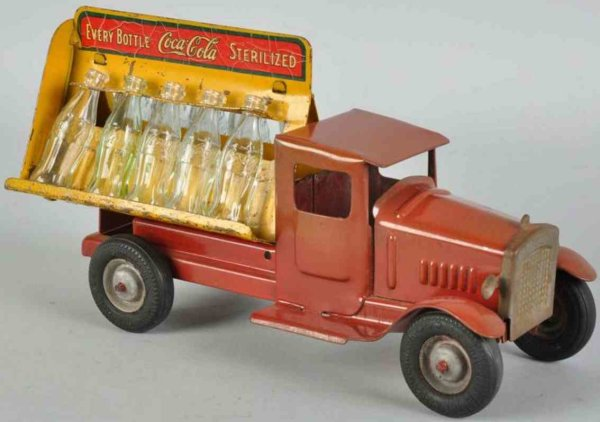 Metalcraft Corp. St Louis Tin-Trucks Coca Cola truck in red, this variation features rubber wheel