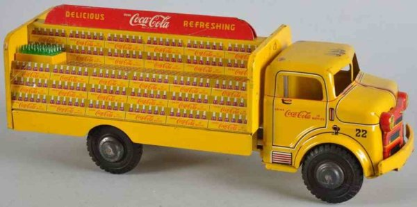Marx Tin-Trucks Coca Cola truck in yellow, lithographed
