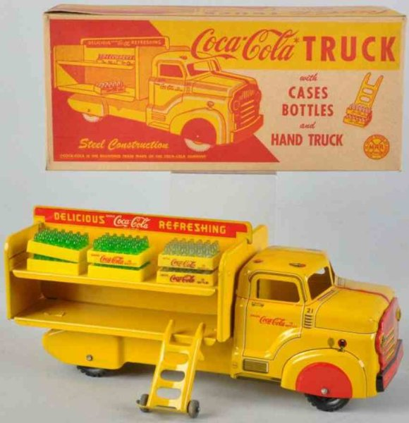 Marx Tin-Trucks Coca Cola delivery truck #21in yellow wit original box, case