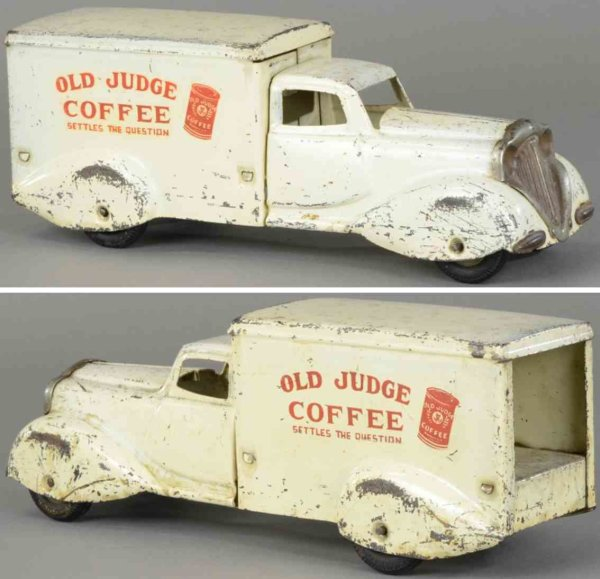 Metalcraft Corp. St Louis Tin-Trucks Old judge coffee truck, pressed steel, done in white, van si