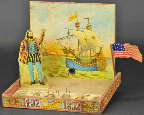 Reed Toy Co. Wood-Toys Columbus marble game toy, lithographed paper on wood table g